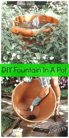 I have a easy project today that would be great for the garden or patio – a DIY Fountain In A Pot! This would be especially inexpensive to make if you already own a medium to large pot. DIY Fountain In A Pot Materials: Container, 24 inches across or larger Pump and f...