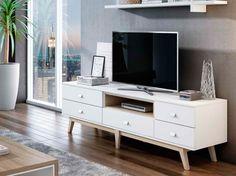 Un Mueble TV vintage blanco que añade un toque retro a cualquier estilo de interior.