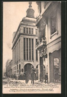 old postcard: AK Salonica, Fire of 18-19-20 August 1917, The only saved building, Libertée Square transformed in General Post Office