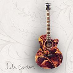 """Scroll Design"" Custom Hand Painted Acoustic Guitar by artist Julie Borden"