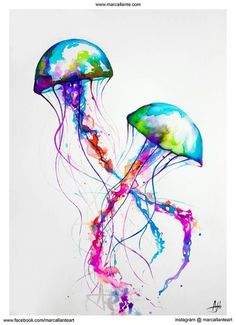 Trademark Art 'Narasumas' by Marc Allante Graphic Art on Metal Colorful Jellyfish, Jellyfish Art, Watercolor Jellyfish, Jellyfish Drawing, Colorful Fish, Colorful Decor, Canvas Artwork, Canvas Prints, Painting Prints