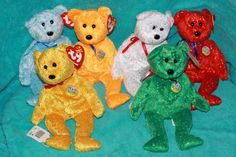 LOT OF 6 Ty Beanie Baby DECADE BEARS MWMT (2003 Bears) all different #TY