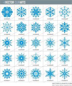 Snow Flakes Clip Art   Simple Snowflakes Clipart III - vinyl-ready vector clipart package