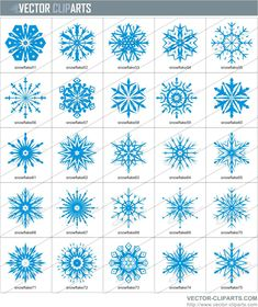 Snow Flakes Clip Art | Simple Snowflakes Clipart III - vinyl-ready vector clipart package