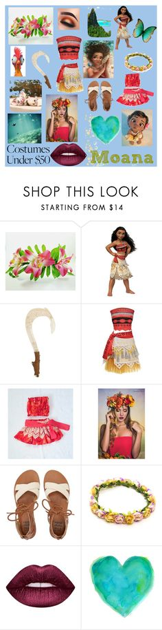 """Little girl and Mamma. Moana Costumes 💛💚"" by loredana3105 ❤ liked on Polyvore featuring Buy Seasons, Disney, Billabong and Lime Crime"