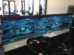 Our bubble print on glass installed in a local hair salon by Ultimate Glass Splashbacks