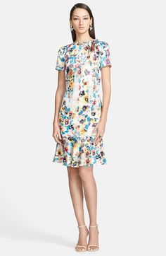 St. John Collection Pansy Print Stretch Silk Charmeuse Dress on Vein - getVein.com/download