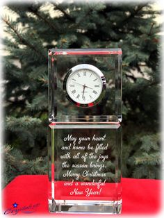 Crystal clock Christmas gift Personalized by Crystals3DEngraving