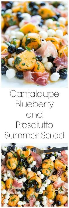 Cantaloupe, blueberries & prosciutto plus mozzarella, basil, mint & the simplest tasty dressing to tie it all together for this SUPER summery salad!