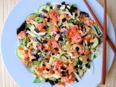 Wild Salmon Vegetable Salad with Lemon Miso Dressing. A great Asian-inspired salad. #salads #recipes #salmon