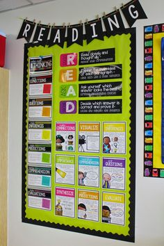 Awesome reading bulletin board - for older grades. It is organized, bright and full with information. 5th Grade Classroom, Classroom Design, School Classroom, Classroom Decor, Classroom Bunting, Classroom Wall Displays, Classroom Libraries, Future Classroom, Classroom Organisation