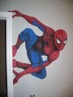Add a superhero mural to the wall.