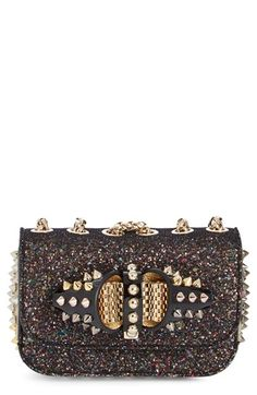 Christian Louboutin 'Sweet Charity' Glitter Spike Shoulder Bag available at #Nordstrom
