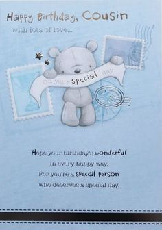 Happy Birthday, Cousin with lots of love greeting card, suitable male or female #HambledonStudios #BirthdayCousin