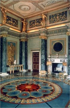Rococo century Interior Robert Adam - Syon House Anteroom Middlesex Influenced but the Greek/Roman pillars, Gold detail famously found in Egyptian interiors and beautiful mosaic tiles, influenced by Moroccan and Greek interiors Classic Interior, Luxury Interior, Interior And Exterior, Interior Design, Marble Interior, Mansion Interior, Home Design, Beautiful Architecture, Art And Architecture