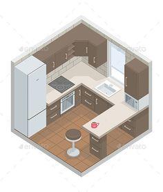 Kitchen - Vectors Kitchen Room Design, Modern Kitchen Design, Home Decor Kitchen, Interior Design Kitchen, Kitchen Designs, Kitchen Layout Plans, Small Kitchen Layouts, Small Kitchen Plans, Nice Kitchen