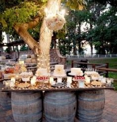Wine Wedding Dessert bar. great idea, and the guests can easily get around