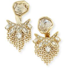 Alexis Bittar Kite Post Earrings w/Jagged Cluster Jacket ($205) ❤ liked on Polyvore featuring jewelry, earrings, gold, alexis bittar, post earrings, chain jewelry, crystal earrings and 14k earrings