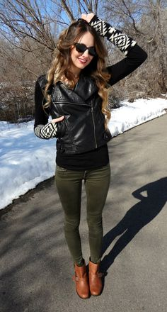 Green skinnies & Moto Jacket