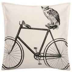thomas paul pillow - owl on a bike!