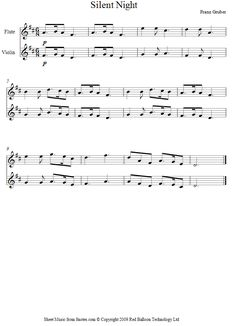 Silent Night sheet music for Violin-Flute Duet