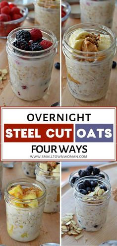 Overnight Steel Cut Oats is a make-ahead quick and easy healthy recipe for breakfast! The recipe combines steel cut oats and almond milk along with other goodies like fresh fruit, nuts, and seeds. Steal Cut Oats Recipes, Overnight Oats In A Jar, Overnight Steel Cut Oatmeal, Overnight Oats Almond Milk, Healthy Overnight Oats, Mason Jar Breakfast, Breakfast Ideas, Brunch Ideas, Healthy Make Ahead Breakfast