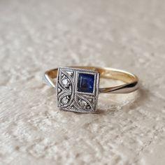 So unique, I love that Art Deco Diamond Platinum & Sapphire Milgrain Square 9k Gold Engagement Ring Size 5.25