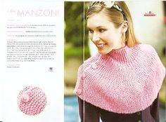 Receitas de Trico e Croche: Pelerine Rosa Ponto Trico Capelet Knitting Pattern, Knitting Patterns, Knit Crochet, Crochet Hats, Knitted Shawls, Headbands, Knitwear, Pretty, Crafts