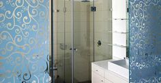 Shower and toilets With Printed Glass