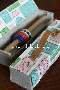Washi Tape Box by ichimiere Craft Room Storage, Craft Organization, Diy Storage, Paper Storage, Ribbon Storage, Cardboard Furniture, Cardboard Crafts, Paper Crafts, Washi Tape Storage