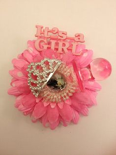Its A Girl Baby Shower Corsage. Girl Baby Shower. For Big Sister Lizzie?