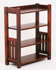 Harden Furniture Co slated bookshelf. Original finish except top refinished. Arts And Crafts Furniture, Furniture Projects, Wood Furniture, Furniture Design, Craftsman Style Furniture, Mission Style Furniture, Build A Farmhouse Table, Furniture Inspiration, Bookshelves