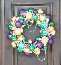 Mardi Gras Vintage Ornament Wreath