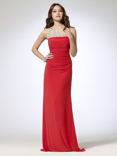One Shoulder Beaded Red Evening Dress - http://www.vudress.com/