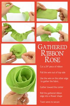 Burlap gathered ribbon rose tutorial