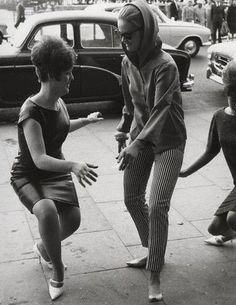 Dancing the twist in the street,1960s: