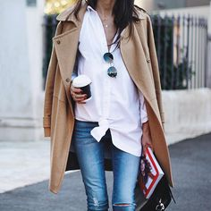 white shirt, camel & denim