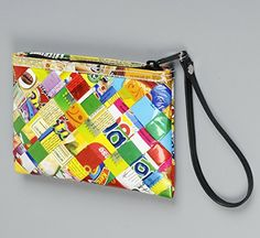 Small wristlet using candy wrappers  Free standard shipping  Upcycling by Milo *** Read more details by clicking on the image. #Handmadehandbags
