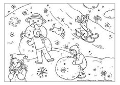 Snow day colouring page