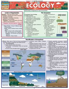 Ecology (Quickstudy: Academic): PCovers the study of relationships of organisms to their environment. BRBRGreat for students in biology at any level, general or physical science, or any science that includes life and geographic relationships. BRBR/P P Ap Biology, Science Biology, Physical Science, Teaching Science, Earth Science, Life Science, Biology Facts, Study Biology, Biology Lessons