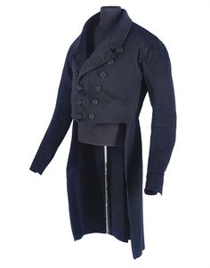 A RARE GENTLEMAN'S MORNING COAT, 1830S, of midnight blue wool facecloth, double breasted, the black satin buttons with a delicate tulip motif, 26in. (66cm.)  waist