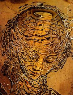"""Raphaelesque Head Exploding"" - Salvador Dali {classic surrealism female head woman face painting}"