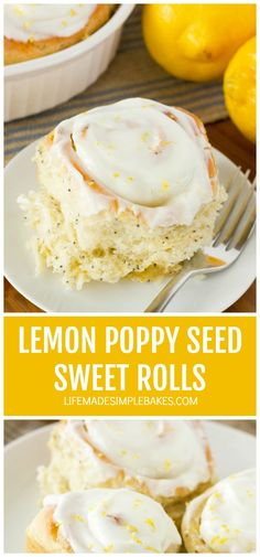 You're going to fall in love with these light and fluffy lemon poppy seed sweet rolls! They just shout Spring!! #lemonpoppyseedsweetrolls #sweetrolls #lemonsweetrolls #lemonpoppyseedrolls Breakfast Bake, Sweet Breakfast, Mini Cinnamon Rolls, Lemon Coconut, Lemon Curd, Lemon Cream Pies, Brunch Recipes, Brunch Ideas, Bread Recipes
