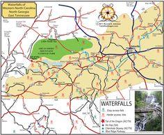 Western North Carolina Waterfall Map | Western North Carolina and North Georgia Waterfall Map, see below for ...