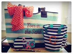 Beach ready with 31's Euro Straw Tote, Round About Caddy & Soft Eyeglass Case