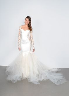 lace sleeve wedding dress with sheer cut out panels