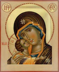 Icon of the Theotokos - Tender Mercy Religious Images, Religious Icons, Religious Art, Blessed Mother Mary, Blessed Virgin Mary, Madonna, Syrian Christians, Religion Catolica, Byzantine Icons