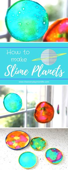 These slime planet sun catchers are the perfect way to teach kids about the solar system and create a fun art project together.