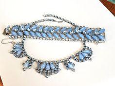 ON SALE Vintage Blue Art Glass and Rhinestone Necklace and Bracelet Set, Rhinestone Necklace and Bra Shape Art, Blue Art, Rhinestone Necklace, Something Blue, Bracelet Set, Earring Set, Turquoise Bracelet, Glass Art, Buy And Sell