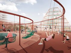 Here's How You Turn a Parking Garage Into a Great Playground | This parking garage design, by Jaja Architects, is part playground, part gym, part Hanging Gardens of Babylon. | Credit: Illustration: Jaja Architects | From Wired.com